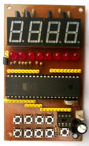 Minimum System AT89S52 dengan 4 Digit7 Segment dan 8 Buah LED